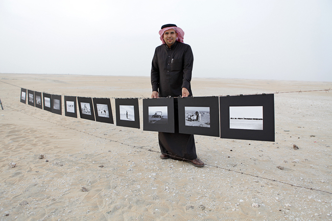 musleh jameel at his exhibition in the desert. 2012.